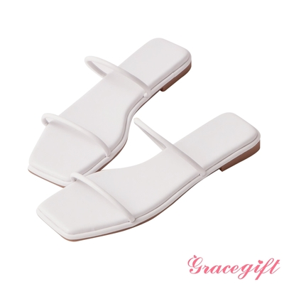 Grace gift-一字細帶平底涼拖鞋 白