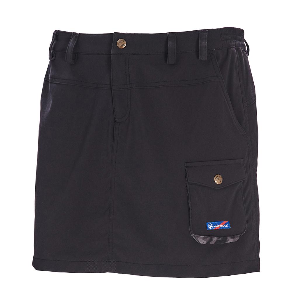荒野【wildland】女彈性抗UV功能時尚短裙黑色