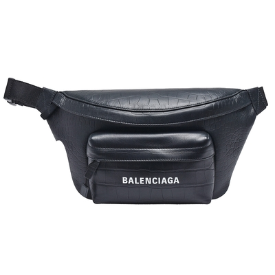 BALENCIAGA 經典EVERYDAY系列品牌字母LOGO烙印鱷魚紋小牛皮腰包/斜背包(黑)