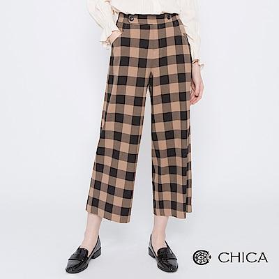 CHICA 摩登英倫配色格紋雙釦腰帶寬褲(2色)