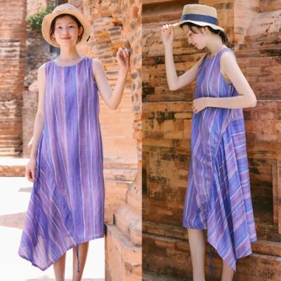 洋裝-不規則裙擺紫色條紋棉麻無袖寬鬆-設計所在