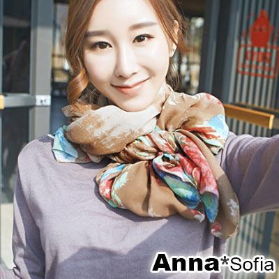 AnnaSofia 巴黎花印彩染 拷克邊韓國棉圍巾披肩(駝咖系)
