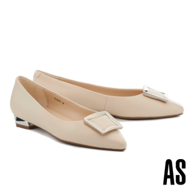 低跟鞋 AS 都會時髦方型金屬釦全真皮尖頭低跟鞋-米
