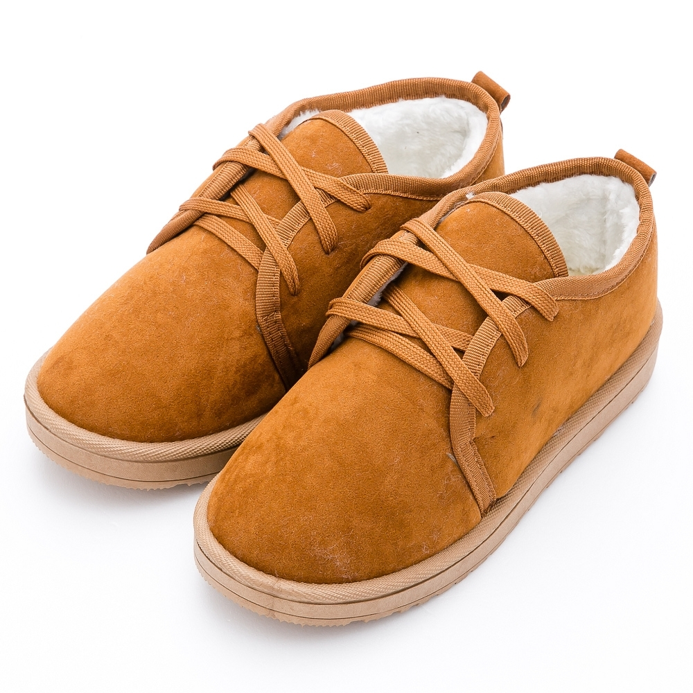 River&Moon雪靴-韓版秋冬綁帶刷毛Q軟短靴-黃棕
