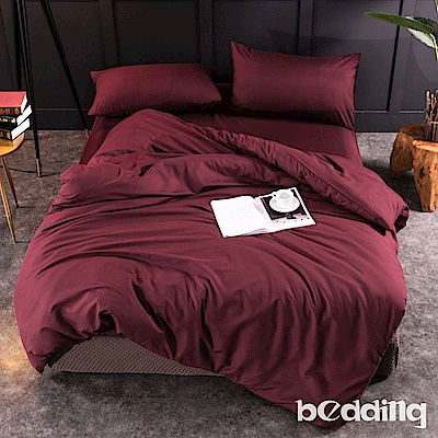 BEDDING-活性印染日式簡約純色系加大雙人床包兩用被四件組-酒紅色