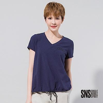 SNS 品牌立體膠印下擺抽繩綁帶T恤(2色)