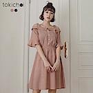 東京著衣 經典格紋船型領露肩短袖洋裝-S.M(共二色)