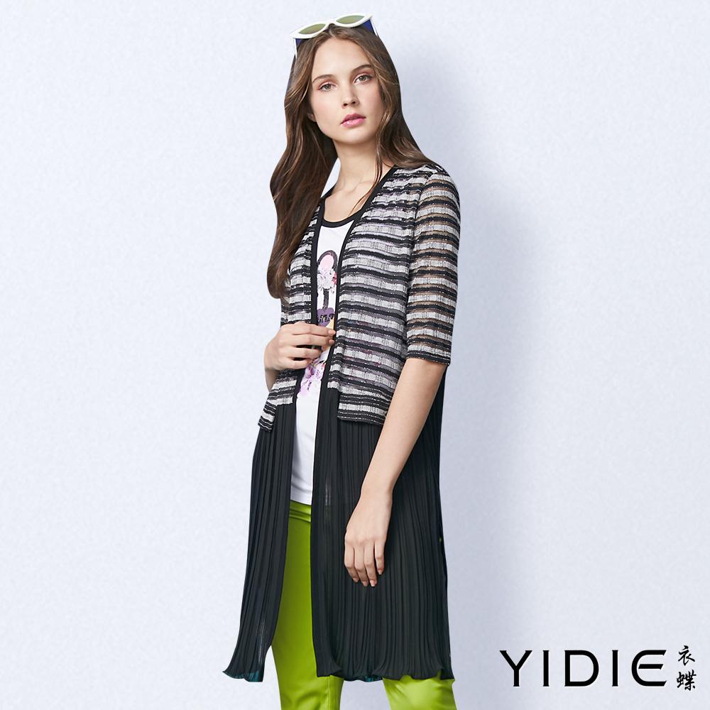 【YIDIE衣蝶】金蔥橫條彈力壓摺拼接罩衫
