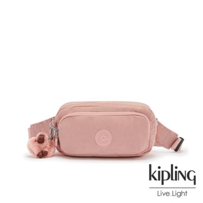 Kipling 玫瑰石英粉雙層隨身腰包-HOPE