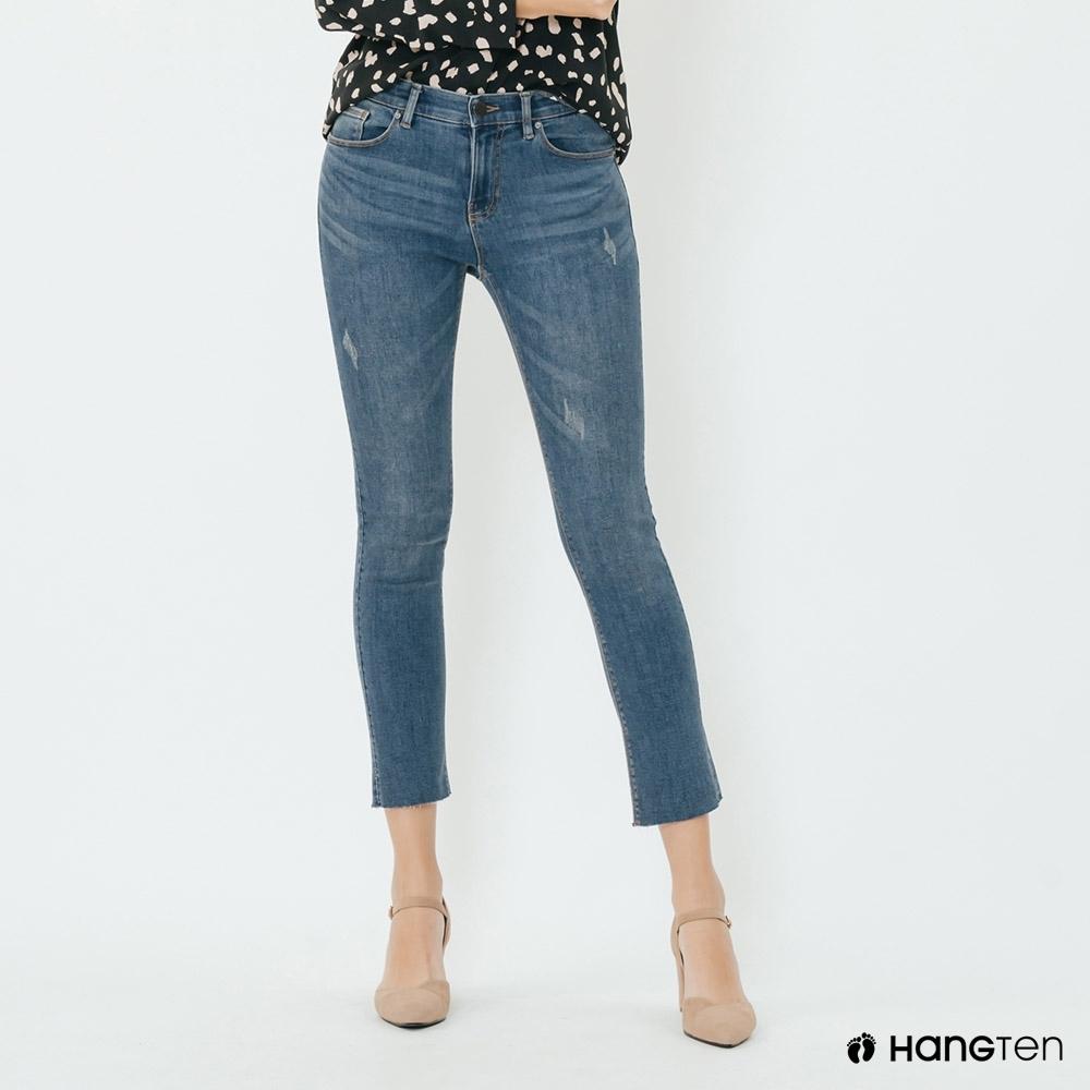 Hang Ten -女裝 - 微刷破造型合身牛仔褲 - 藍