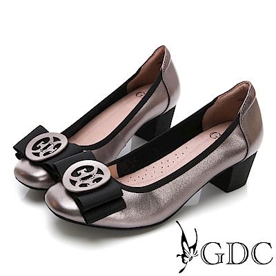 GDC-真皮典雅氣質金屬蝴蝶結上班中跟鞋-灰色