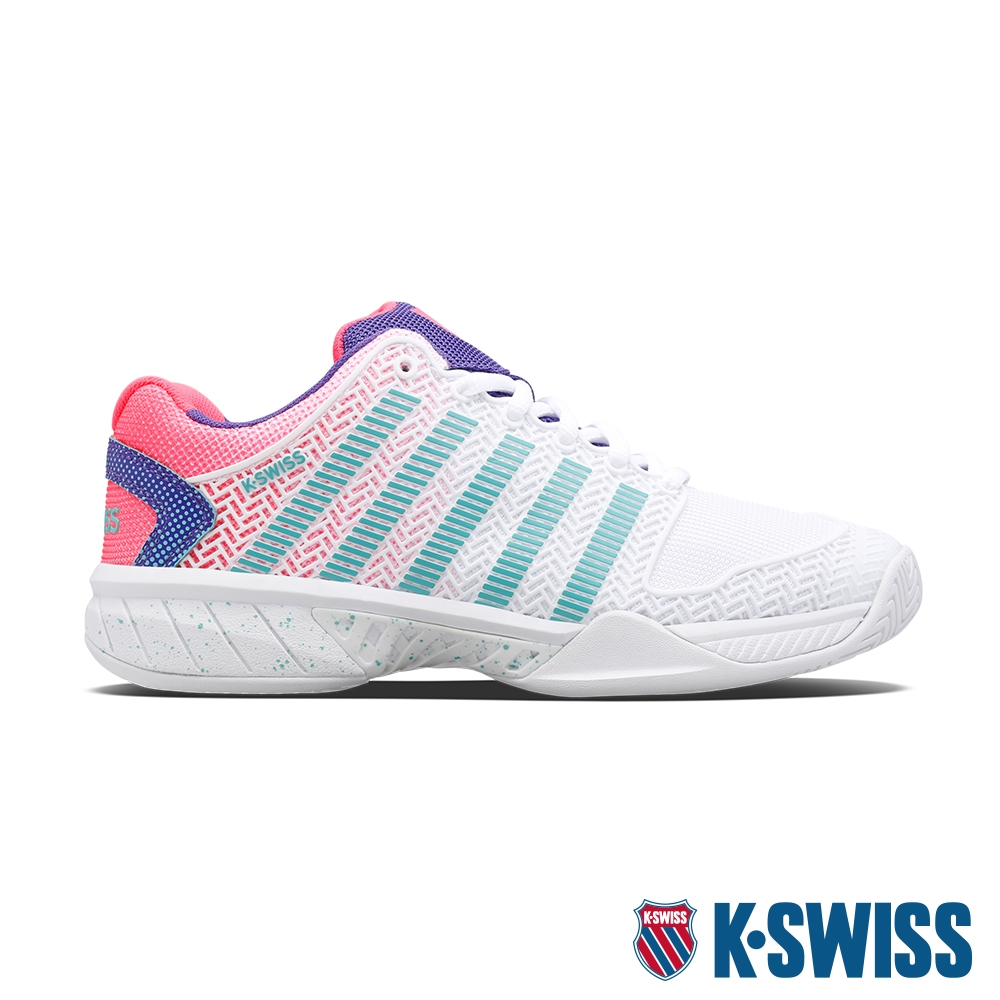 K-SWISS Hypercourt Express透氣輕量網球鞋-女-白/紫/桃紅/綠