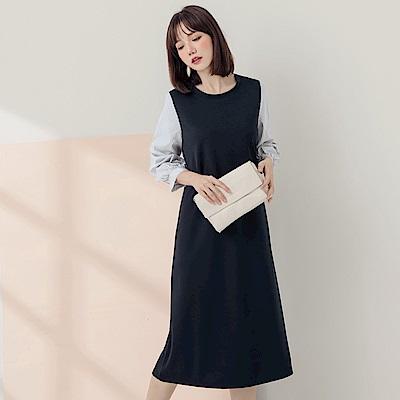 純色拼接直條紋袖壓褶洋裝-OB大尺碼