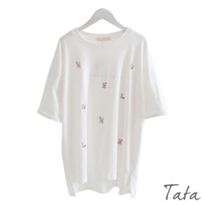 動物文字刺繡T恤上衣 共三色 TATA-(S~XL)