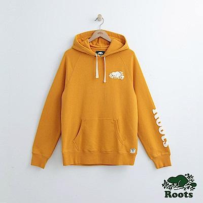 Roots 男裝-左臂字標連帽上衣-黃色