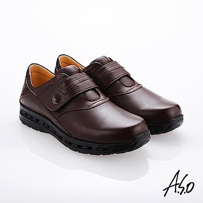 A.S.O霸足氣墊 魔鬼氈奈米牛皮氣墊鞋 咖啡