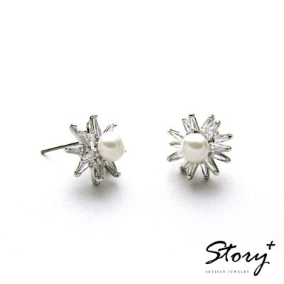 STORY故事銀飾-氣質時尚耳環-Sunny珍珠晶鋯耳環