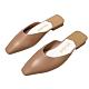 KEITH-WILL時尚鞋館 簡約慵懶風小方頭晴雨可穿穆勒鞋-奶茶色 product thumbnail 2