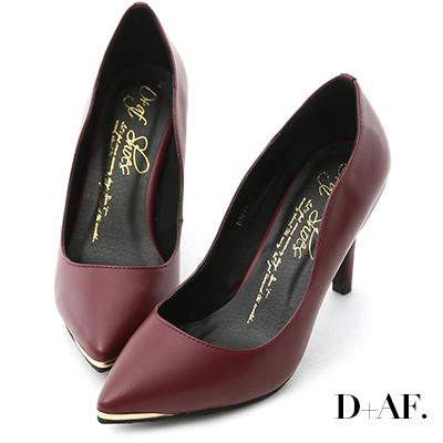 D+AF 魅力佳人‧金屬鑲片素面尖頭高跟鞋*酒紅