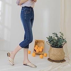 高含棉收腹高腰排釦修身刷色七分窄管牛仔褲-OB嚴選