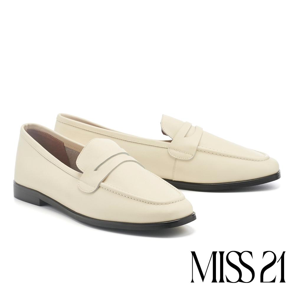 低跟鞋 MISS 21 復古簡約奶奶風全真皮樂福低跟鞋-奶白