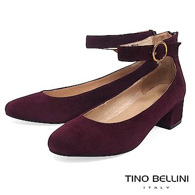 Tino Bellini 摩登俏麗繫踝低跟鞋 _ 酒紅