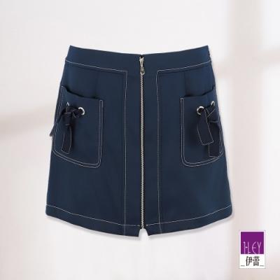 ILEY伊蕾 壓線裝飾金屬拉鍊褲裙(藍)