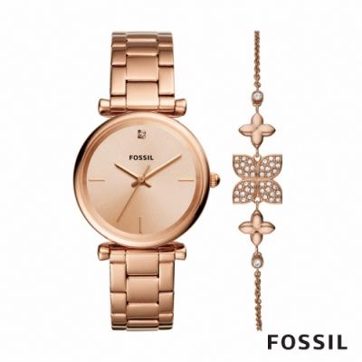 FOSSIL CARLIE 靚亮女孩鍊帶女錶手鍊組-玫瑰金 35MM ES4685SET