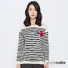 獨身貴族 童趣時尚鑽飾拼貼條紋針織衫(2色)