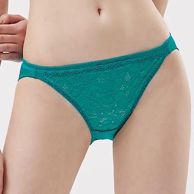 思薇爾 塞納河之謎系列M-XL蕾絲低腰三角內褲(微風藍)