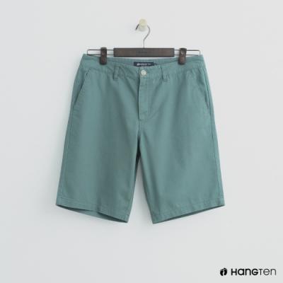 Hang Ten - 男裝 - 素色純面棉質短褲-綠