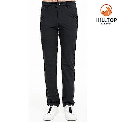 【hilltop山頂鳥】男款超潑水抗UV彈性長褲S07MB9無月黑