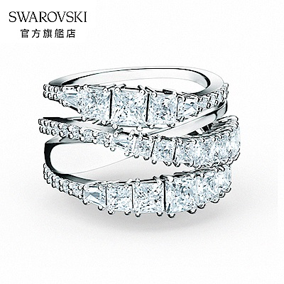 SWAROVSKI 施華洛世奇 Twist Wrap 白金色螺旋曲線白色戒指 52