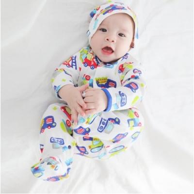Baby童衣 寶寶連身衣 純棉長袖包腳爬衣及嬰兒帽 2件組 50517