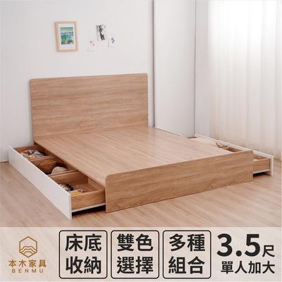 【本木】湯斯 北歐房間二件組-單大3.5尺 床片+三抽床底(含尾片)