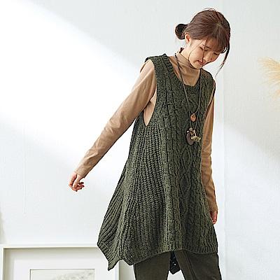 慢生活粗毛線麻花針織背心裙-深卡其綠