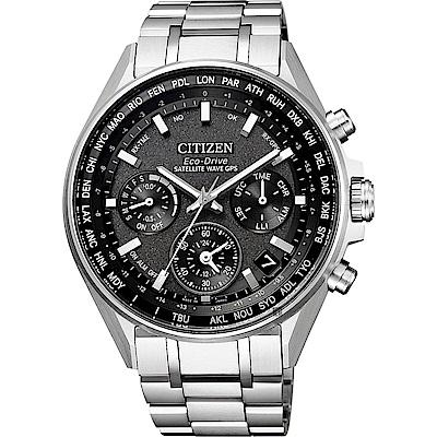 CITIZEN 星辰 光動能 鈦 GPS衛星對時手錶-灰x銀/43.5mm