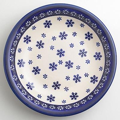 【波蘭陶 Zaklady】 雪白冰花系列 圓形深餐盤 22cm 波蘭手工製