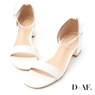 D+AF 完美夏日.一字繫踝方頭低跟涼鞋*白