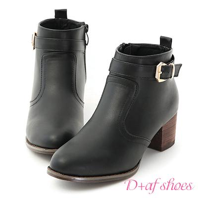 D+AF 時尚主流.質感金屬釦環中短靴*黑