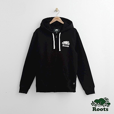 Roots 男裝-經典連帽外套-黑