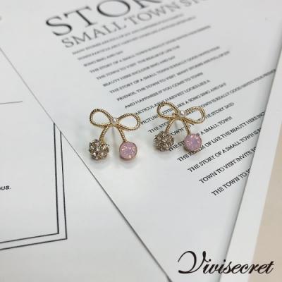 VIVI SECRET 甜美蝴蝶結水鑽耳環
