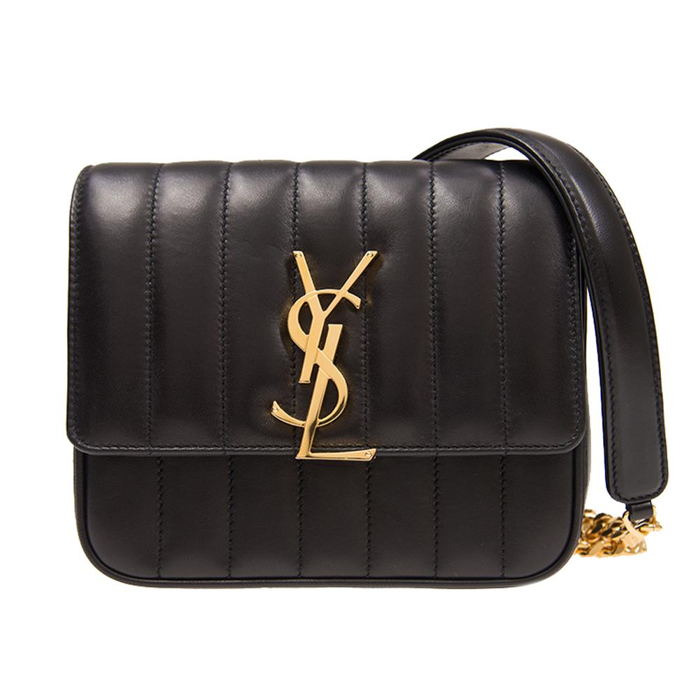 YSL Saint Laurent VICKY系列鏈帶小羊皮側肩包(黑色小款)