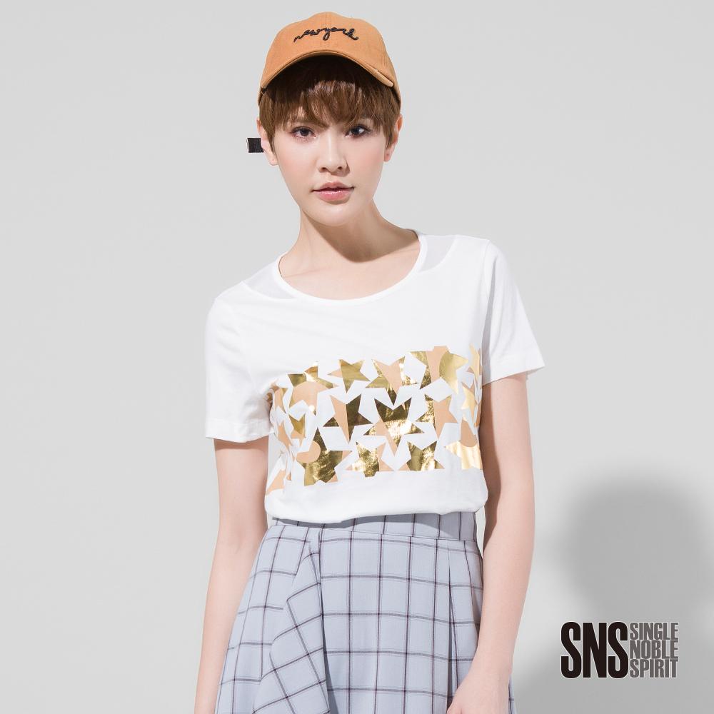 SNS 閃耀星群領口拼接網紗T恤(3色)