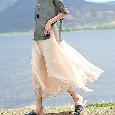 裸粉色大襬層疊進口雪紡長裙-Q8514-設計所在