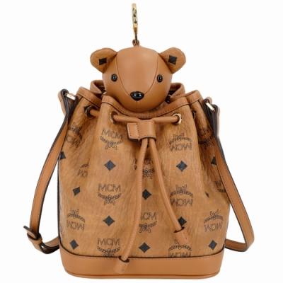 MCM Bear 棕色小熊玩偶造型束口水桶包(玩偶可拆當鑰匙圈使用)