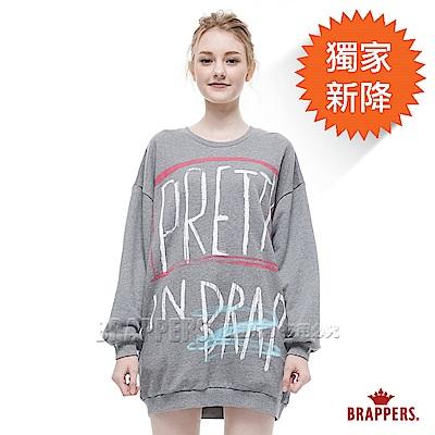 BRAPPERS 女款 字母繪圖寬鬆長版長袖上衣-灰