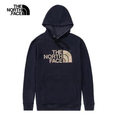 The North Face北面男女款深藍色迷彩LOGO印花連帽大學T 5K2ORG1