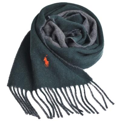 RALPH LAUREN POLO 義大利製小馬刺繡雙面羊毛圍巾(墨綠/灰)
