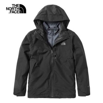 The North Face北面男款黑色防水防風戶外三合一外套 49B7KX7